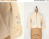 75% OFF 1960s wool beaded cardigan - 60s beaded sweater - cream virgin wool - floral - hand loomed