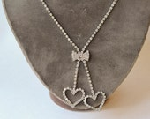Double Heart Rhinestone Necklace Vintage Heart and Bow Necklace
