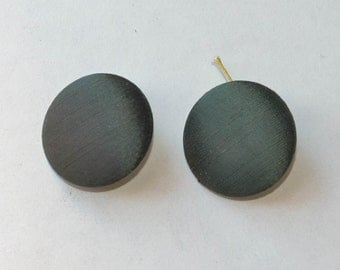 Pair of Buttons Vintage Large Green Buttons Green Satin Coat Buttons