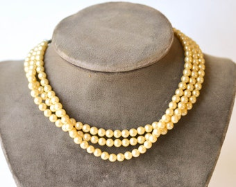 Pearl Necklace Vintage Multi Strand Faux Pearls and Rhinestones Choker