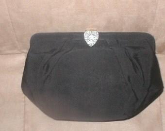 Vintage 1960's Black Silk Clutch Purse
