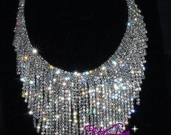 Huge Ornate Rhinestone Fringe Necklace