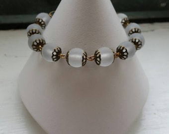 Frosted Glass and Antiqued Brass Bracelet