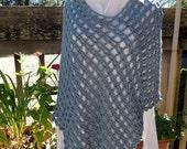 Handmade Poncho New, Handmade New Blue Poncho, Slate Blue Crocheted Poncho