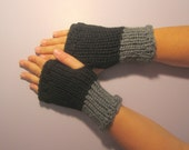 Black and Grey or Pick Colors Fingerless Gloves - Grey and Black Hand Knit Fingerless Gloves - Custom Fingerless Gloves