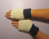 Navy and White or Pick Colors Fingerless Gloves - White and and Navy Blue Hand Knit Fingerless Gloves - Custom Fingerless Gloves