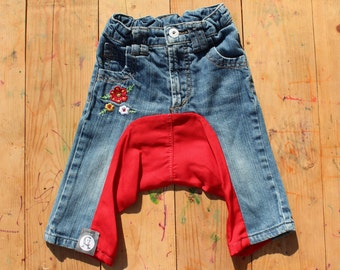 SALE! Upcycled girls harempants - upcycled from 2 pants - size 74/ 9 months
