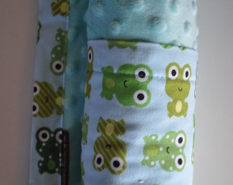 XLARGE, Baby Boy Infant Toddler Snuggle Size Minky Blanket, Frogs and Aqua Minky