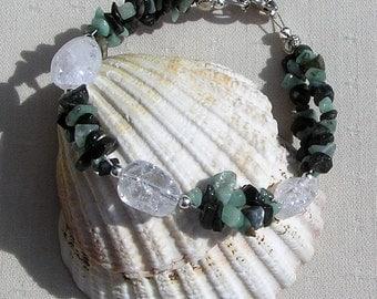 """Emerald & Crackled Clear Quartz Crystal Gemstone Bracelet """"Sage Dew"""", Emerald Bracelet, Chakra Bracelet, Quartz Bracelet, Green Bracelet"""