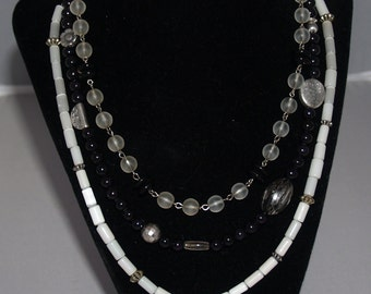 Black, White & Clear Triple Strand Glass Bead Part Vintage Necklace