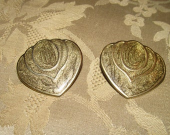Beige, Gold and Brown Enameled Shield-style Post Earrings