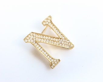 vintage pin brooch initial letter N gold tone and rhinestones AK Ann Klein designer signed