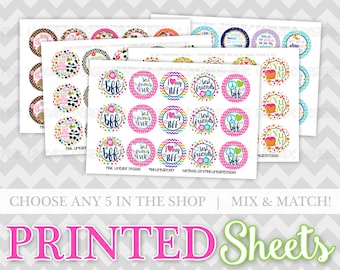 Printed Bottle Cap Image Sheets - YOU CHOOSE any 5 sheets in my shop - high quality prints on photo paper