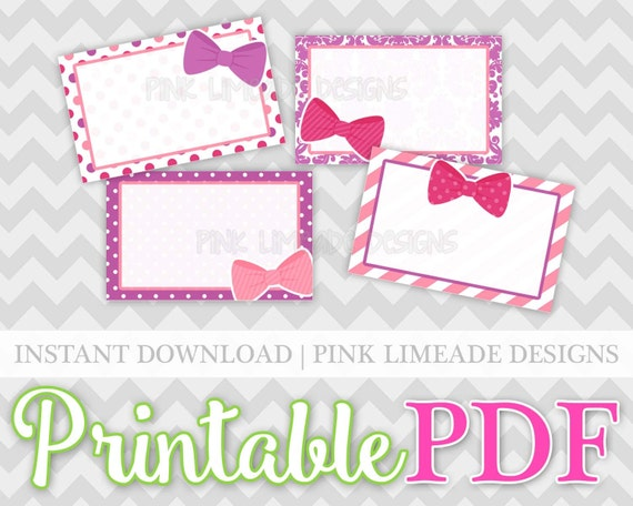 Pink purple bows half box printable planner stickers pdf for Half page sticker labels