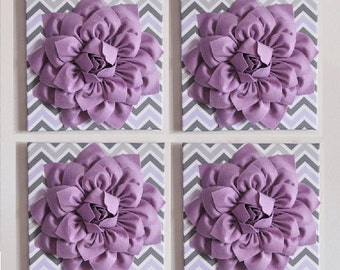 "FOUR Custom Home Decor Wall Decor -Lilac Dahlia Flowers on Lilac, Gray and White Chevron 12 x12"" Canvas Wall Art- Baby Nursery Wall Decor-"