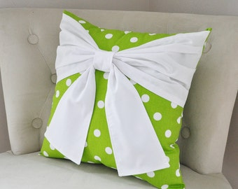 DORM DECOR, Decorative Pillow Cover, Green Pillow,  Gift,  Pillows, Accent Pillow, Polka Dot Bow Pillows Throw Pillows Decorative Pillows