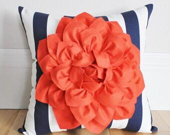 Beach Pillow Coral Dahlia on Navy and White Stripe Pillow -Baby Nursery Pillow- Toss Pillow Decorative Pillow