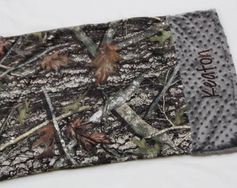 Personalized Minky Pillowcase - Real tree camo grey brown
