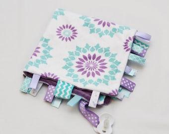 Baby Ribbon Tag Blanket - Minky Binky Blankie - Violet and Aqua Mod Flower
