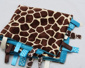 Mini Baby Ribbon Tag Blanket - Minky Binky Blankie - Giraffe - YOU CHOOSE COLOR
