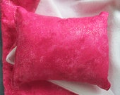 American Girl Doll Bedding, hot pink sparkly blanket and pillow for 18 inch doll