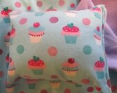 Cupcake Doll Bedding, blanket and pillow for 18 inch doll like American Girl