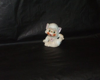 Vintage Japan Baby Sugar Snow Monkey Figurine with Pink Flower ADORABLE B