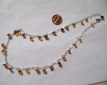 Baltic Amber dangles, sterling silver neclace