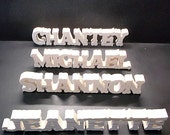 11 Name Signs 2 in . High x .75 in. thk Stand Alone  Unfinished  Wood Style 2 for Dina