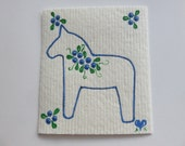 Hand painted Swedish dishcloth with Dalahorse and blueberries