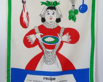1960s Linen Cornish pasty tea towel