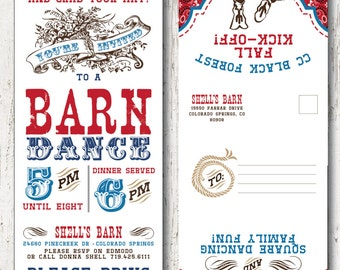 BARN DANCE Invitation and RSVP post card - 5x5 in Tr-Fold  --  Custom Colors and text
