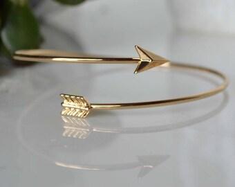 Gold Arrow bracelet, gold arrow bangle, gold arrow bangle, adjustable arrow bracelet, Saggitarius arrow bracelet, custom - symbol card avail