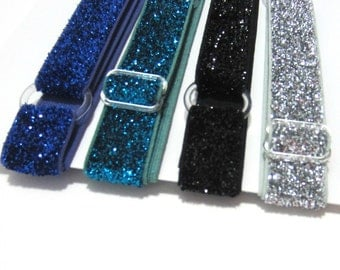 Set of 4-Blue, Green GLITTER Adjustable Elastic Headband, Hair Band, Girl, Baby, Woman Headband, Sport Headband- 10 Colors to Choose From