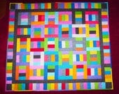 "Timeless Treasures ""Rain"" Split Rail Handcrafted Patchwork Quilt   Made in USA by MJ Quilts"
