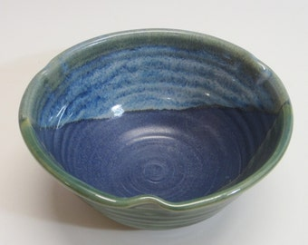 Serving bowl / pottery / handmade / wheel thrown / green / blue bowl / high fired
