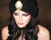 35 % OFF SALE Fall Winter Vintage Style Reproduction Rhinestones Cameo Lady Brooch Head Wrap Turban