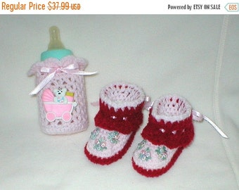 20% OFF SALE Crochet Baby 0-3 Mts 4 Oz.Teddy Bear Bottle Cover Venise Lace Tribuds Booties Gift Set