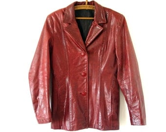 Barn Red Leather Jacket. Women Genuine Leather.