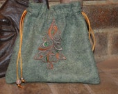 Stoney  Green  Wool Pouch with Rich Copper  Satin Lining - Embroidered with Multicolored Evergreen Tree