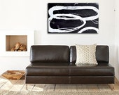 Wall Art Painting Abstract painting black and white 24x36 canvas