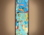 Painting on wood mixed media abstract art