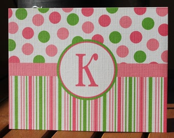 Polka Dots and Stripes Personalized Monogram Printed Note Cards - Baby Shower, Birthday, Thank You