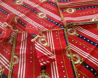 Nautical table cloths with matching napkins 2 sets Red,White & Blue  Tables Cloth