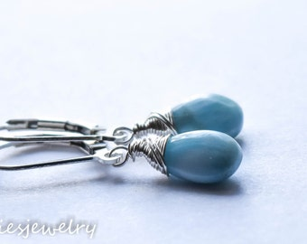 Sky Blue Larimar Earrings, Light Blue Earrings, Genuine Gemstone Larimar Jewelry, Sterling Silver, Drop Earrings, Serenity