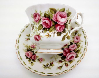 Antique Vintage Tea Cup Set,Royal Albert English Bone China,Flower of the Month Series, Roses Shower Wedding Mother Grandmother Gift