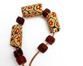 Old Trade Beads, Venetian Glass Beads, Millefiore, Brick Chevrons, African Trade, Trade Beads Design Set