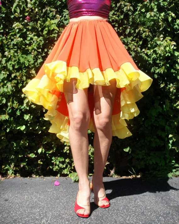 high low skirt asymmetric orange yellow by ameynradesigns