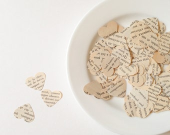"""100 Vintage French 1"""" x 3/4"""" Punched Hearts - Confetti or Papercraft - Valentine's Day, Wedding, Engagement Party"""