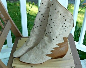 80's Boots Summer Boots Women's Boots Candies Shoes Fabric and Leather Boots Size 7